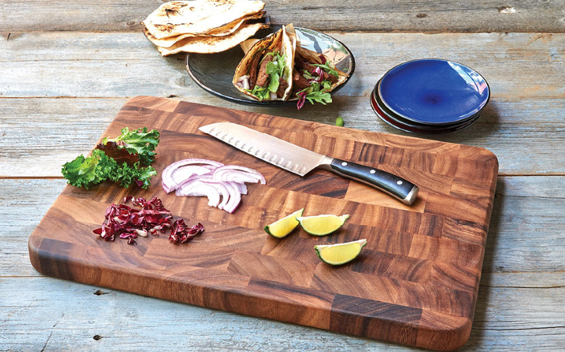 a food place on wooden cutting board