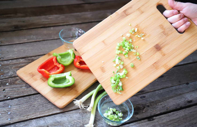 vegetable on bamboo cutting board