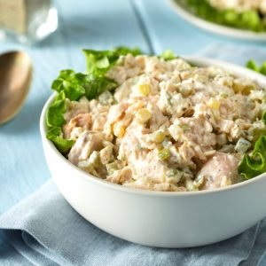 healthy chicken salad in a bowl