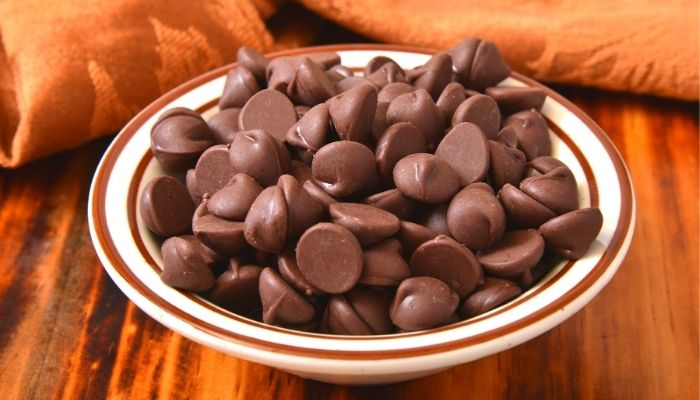 delicious chocolate chips on a dish